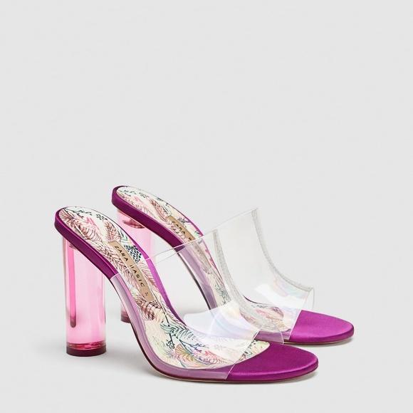 41912b7b538 Zara vinyl mules with clear heels